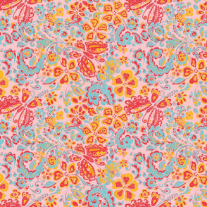 butterfly floral red orange pink blue