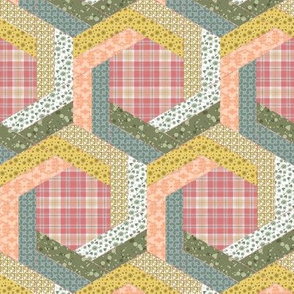 Subtle Log Cabin Hexagons