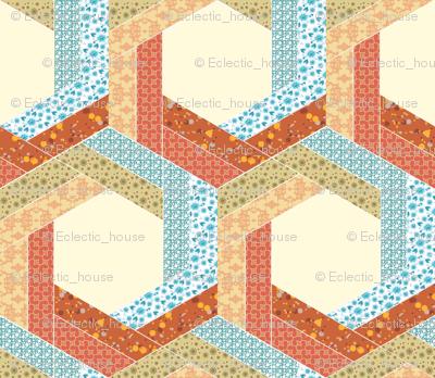 Subtle Log Cabin Hexagons 2