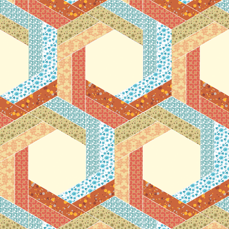 Subtle Log Cabin Hexagons 2 fabric by eclectic_house on Spoonflower - custom fabric