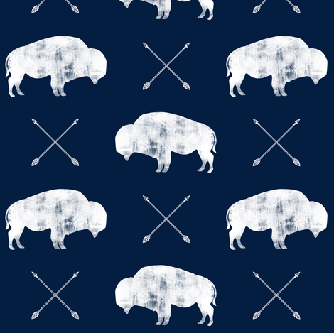 distressed buffalo and arrows (white on navy) fabric by littlearrowdesign on Spoonflower - custom fabric