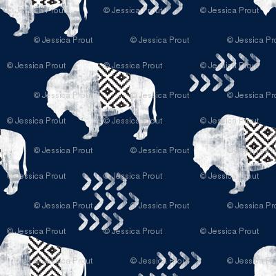 buffalo aztec - distressed || navy