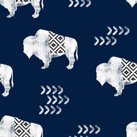 buffalo aztec - distressed || navy fabric by littlearrowdesign on Spoonflower - custom fabric