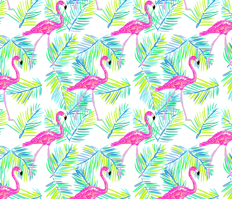 Shore flamingos in white fabric by cecimasonart on Spoonflower - custom fabric