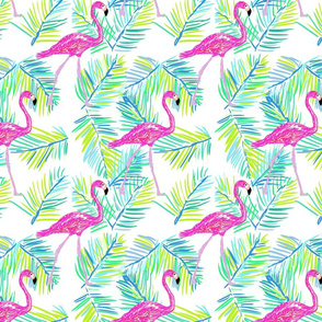Shore flamingos in white