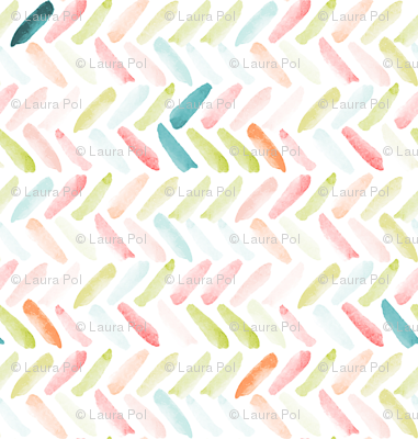 Candy Watercolor Herringbone