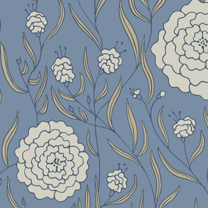 Chic-ass Dahlias - blue + beige