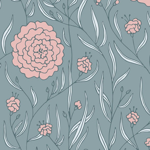 Chic-ass Dahlias - gray - pink