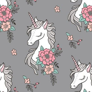 Dreamy Unicorn & Vintage Boho Flowers on Grey