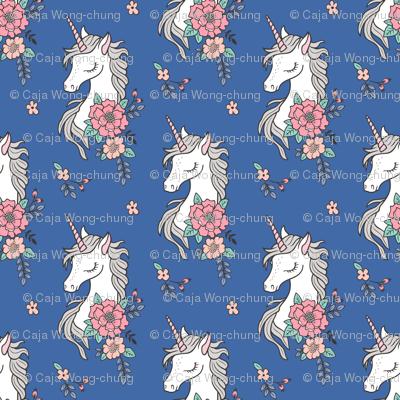Dreamy Unicorn & Vintage Boho Flowers on Navy Blue