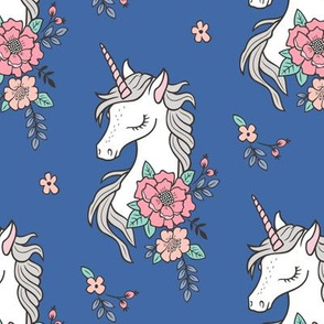 Dreamy Unicorn & Vintage Boho Flowers on Navy Blue