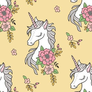 Dreamy Unicorn & Vintage Boho Flowers on  Yellow