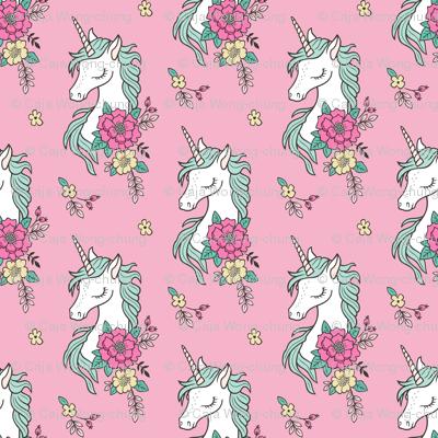 Dreamy Unicorn & Vintage Boho Flowers on  Pink