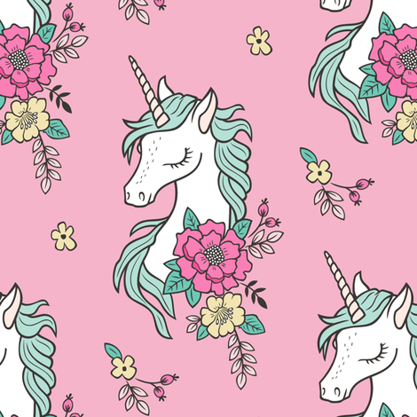 Dreamy Unicorn & Vintage Boho Flowers on  Pink fabric by caja_design on Spoonflower - custom fabric