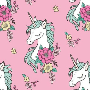 Dreamy Unicorn & Vintage Boho Flowers on  Pink