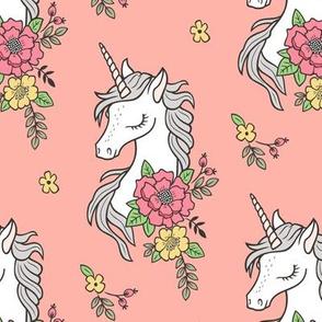 Dreamy Unicorn & Vintage Boho Flowers on  Peach
