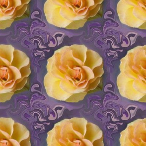 Yellow Roses on  Bluish Lavender Swirls, large
