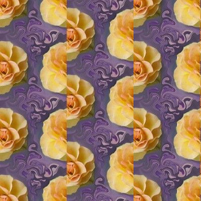 Yellow Rose Garlands on Purple Swirls