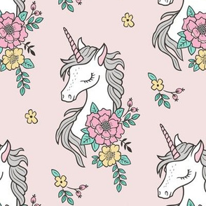 Dreamy Unicorn & Vintage Boho Flowers on  Light Pink