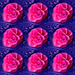 Pink Roses on Bluish Purple Swirls