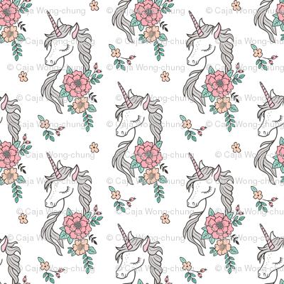 Dreamy Unicorn & Vintage Boho Flowers on White