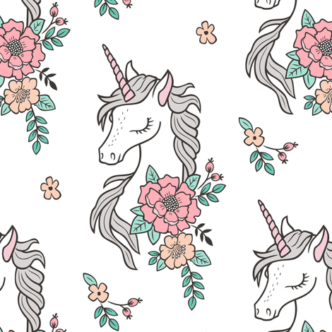 Dreamy Unicorn & Vintage Boho Flowers on White fabric by caja_design on Spoonflower - custom fabric