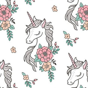 Dreamy Unicorn & Vintage Boho Flowers on White