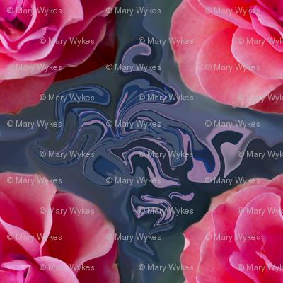 Pink Rose Garlands on Blue Grey