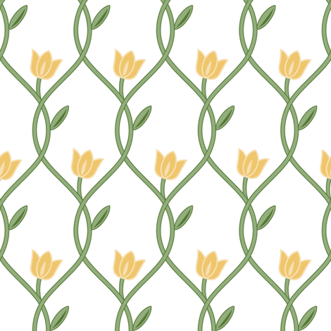 Flowerlines_yellow fabric by align_design on Spoonflower - custom fabric