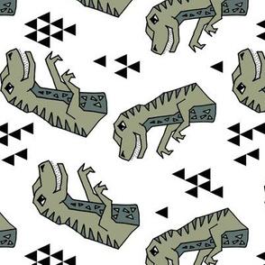 dinosaurs // artichoke green dino fabric t-rex fabrics andrea lauren design