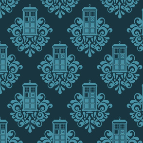 The Doctor Police Blue Box Damask