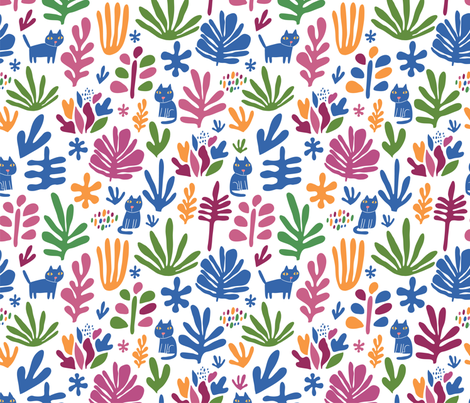 cats and leaves fabric by kostolom3000 on Spoonflower - custom fabric