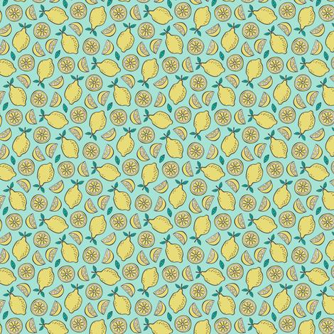 Lemon Citrus on Mint Green Tiny Small fabric by caja_design on Spoonflower - custom fabric