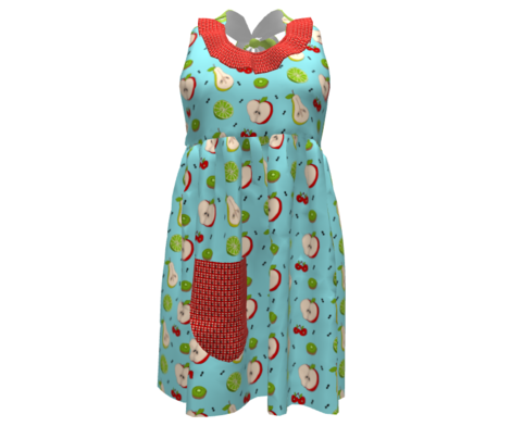 Fruit & Ants Picnic Dance -green mini stripe