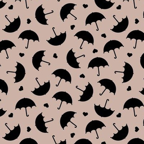 Umbrella love dancing in the rain scandinavian gender neutral beige black