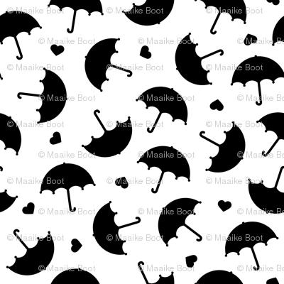 Umbrella love dancing in the rain scandinavian gender neutral black and white