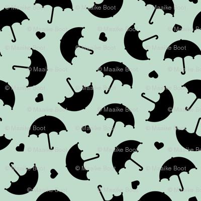 Umbrella love dancing in the rain scandinavian gender neutral mint black