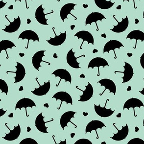 Umbrella love dancing in the rain scandinavian gender neutral mint black