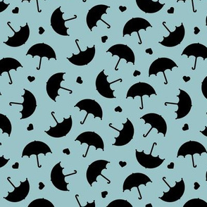 Umbrella love dancing in the rain scandinavian gender neutral blue sky