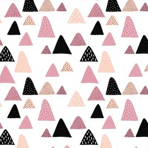 Abstract geometric triangle mountain peak winter Scandinavian style pink XS