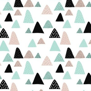 Abstract geometric triangle mountain peak winter Scandinavian style mint black and white XS
