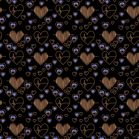 love your heart copper and blue fabric by pamelachi on Spoonflower - custom fabric