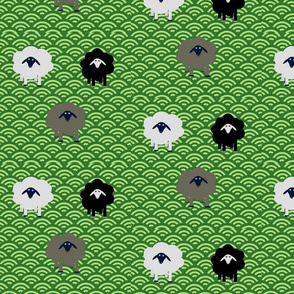 Sheep in Green Pastures; Small