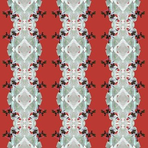 Oxalis Stripes - Grey on Red