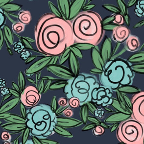 Averie Floral on Navy