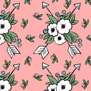 Floral Arrows on Pink