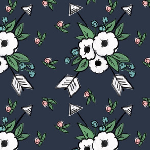 Floral Arrows on Navy