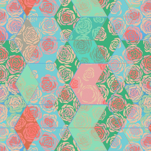 Hexie Roses Patchwork Spring Greens