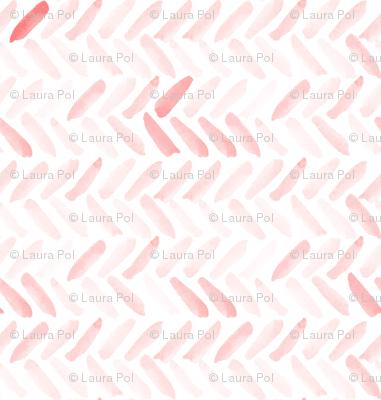 Pink Watercolor Herringbone
