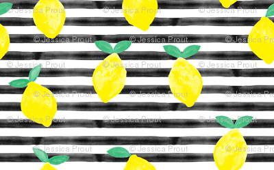 (small scale) so fresh lemons on black watercolor stripes